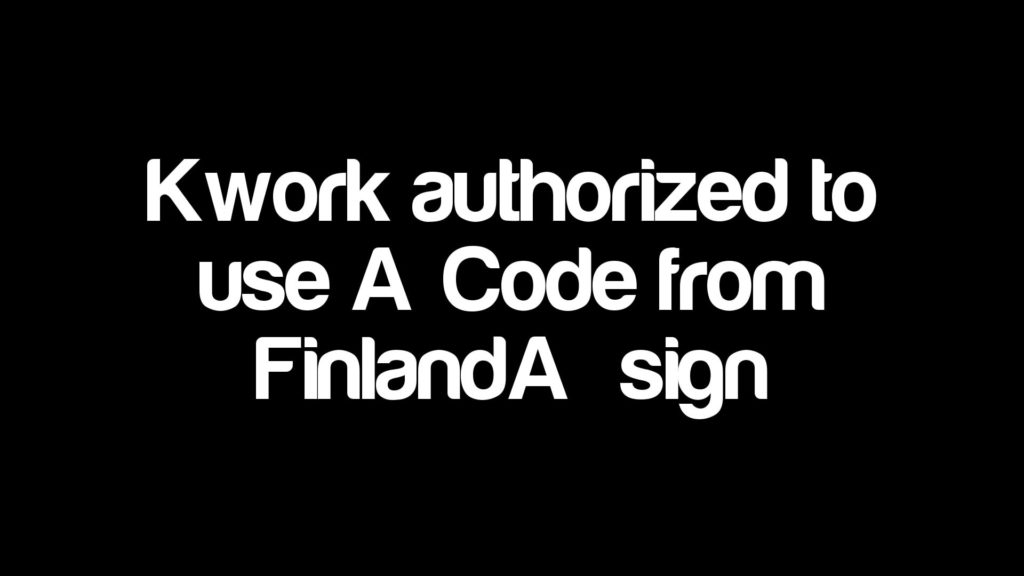"""Kwork authorized to use """"Code from Finland"""" sign"""