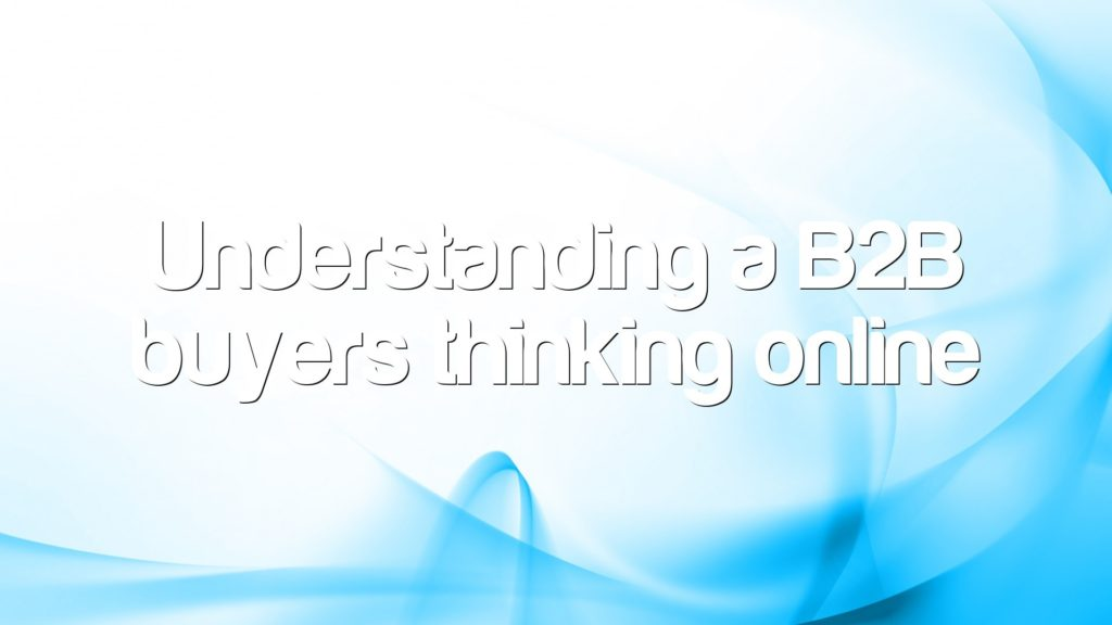 Understanding a B2B buyers thinking online